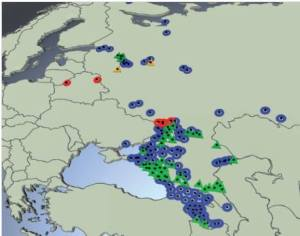 Harta tregon fillimin e rasteve të MAD (blu) 2007 dhe rastet e fundit (2013) me të kuqe.