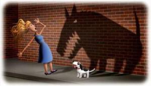 e trembur nga qeni