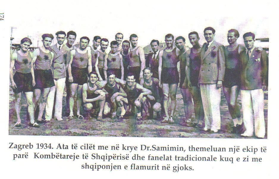 """Dr.Samimi ( Kryetar delegacioni) Olimpiada Ballkanike """"Zagreb1934"""""""